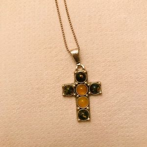 Vintage Sterling Silver Baltic Amber Cross Pendant